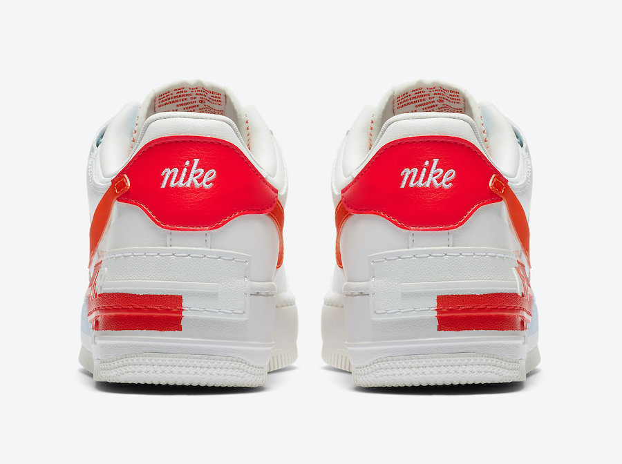 Nike Air Force 1 Shadow White Team Orange CQ9503-100 Release Date Info