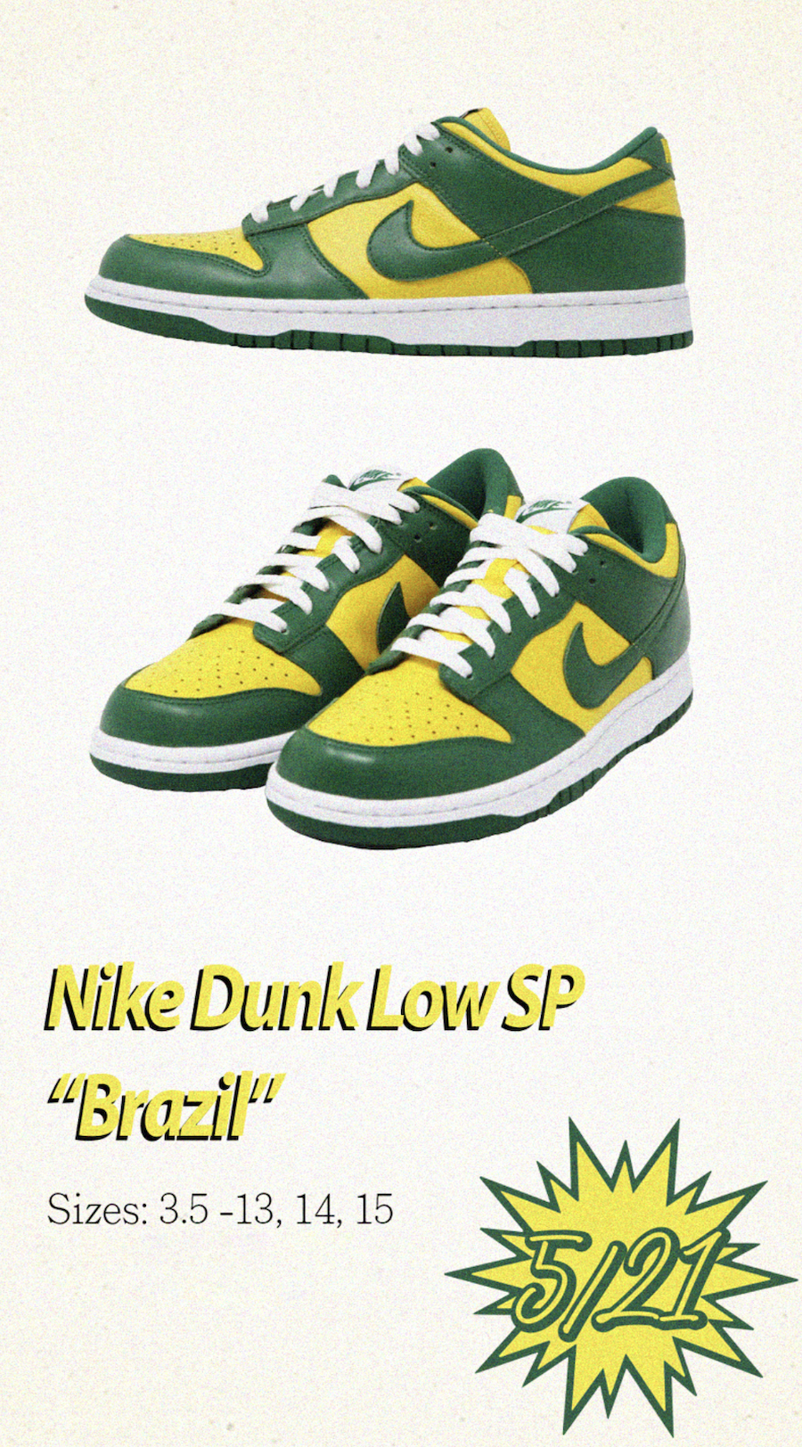 Nike Dunk Low Brazil CU1727-700 Release Date Info