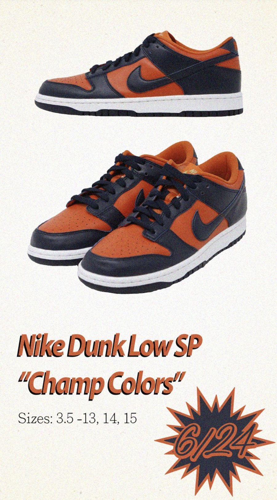 Nike Dunk Low Champ Colors CU1727-800 Release Date Info