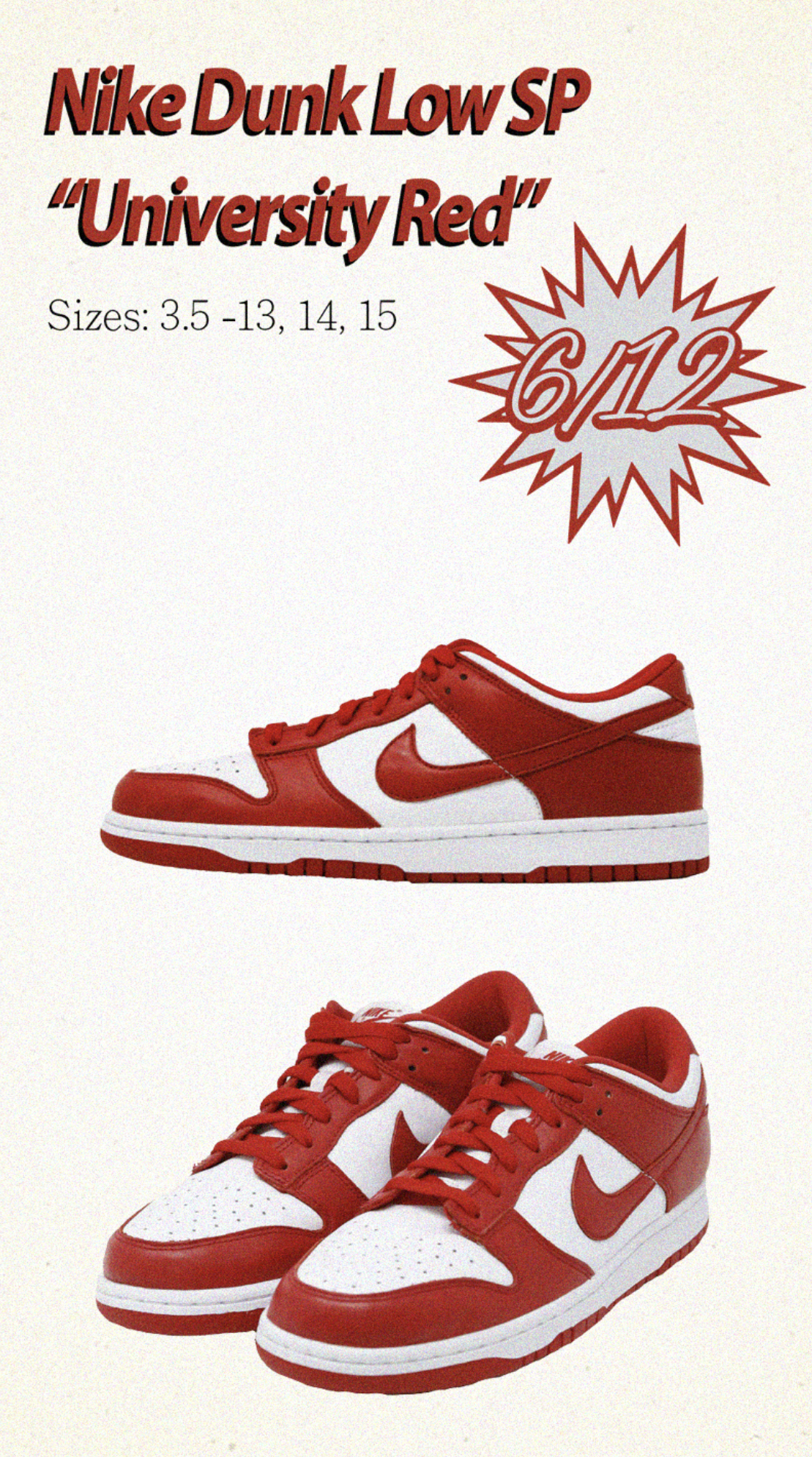Nike Dunk Low University Red CU1727-100 Release Date Info