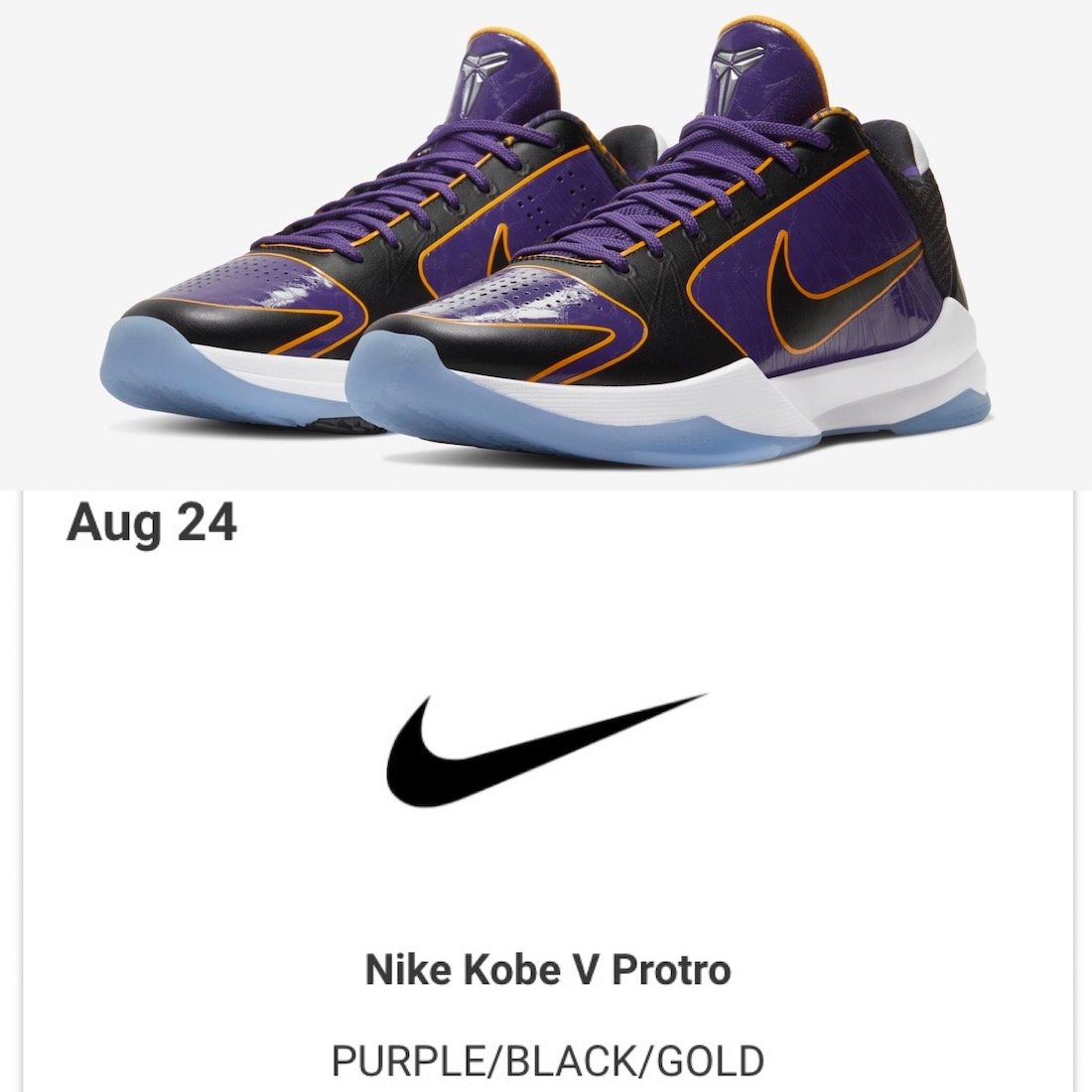 Nike Kobe 5 Protro Lakers CD4991-500