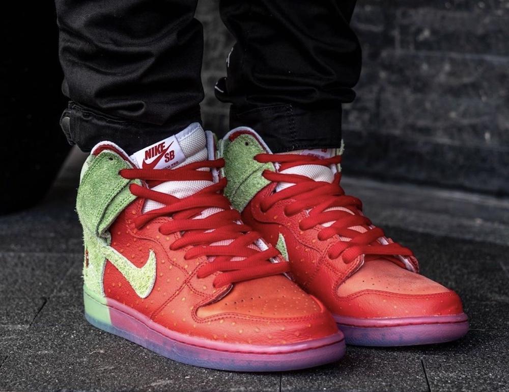 Nike SB Dunk High Strawberry Cough CW7093-600 On Feet