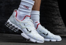 Stussy Nike Air Zoom Spiridon KK White Habanero Red CJ9918-100 On Feet