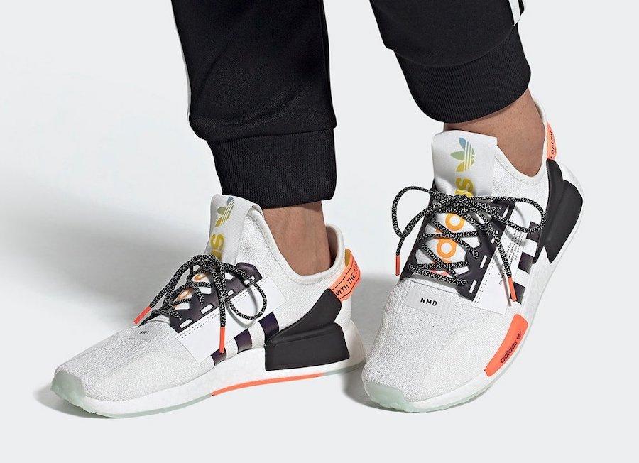 adidas nmd r1 white and orange