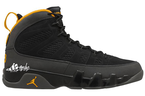Air Jordan 9 Black Dark Charcoal University Gold 2021 Release Date