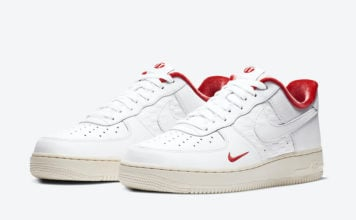Kith Nike Air Force 1 Low White University Red Metallic Gold CZ7926-100 Release Date Info