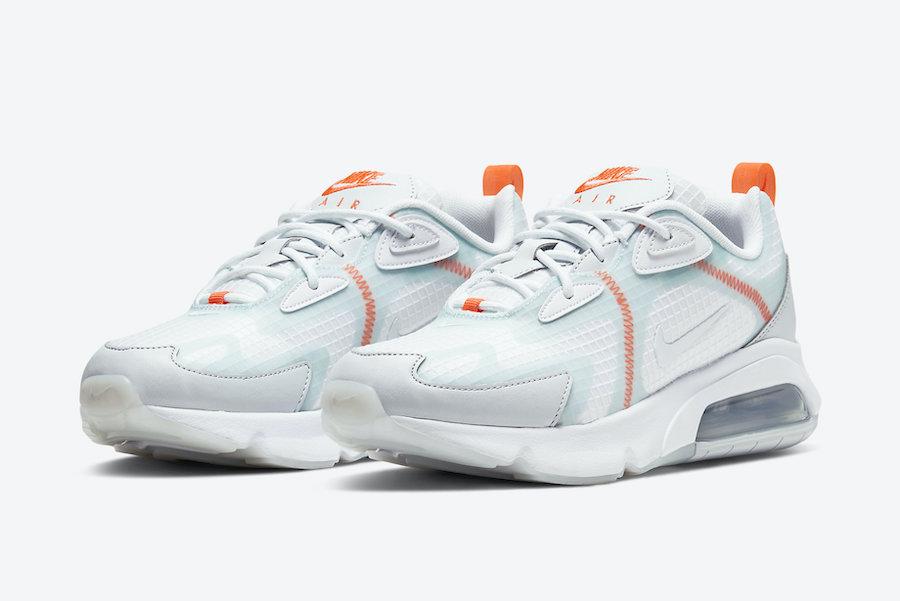 Nike Air Max 200 White Orange Teal CJ0630-600 Release Date Info