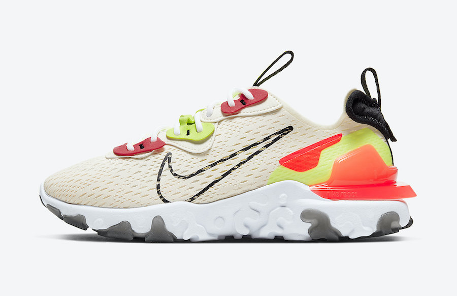 Nike React Vision Beige Orange Volt CI7523-100 Release Date Info