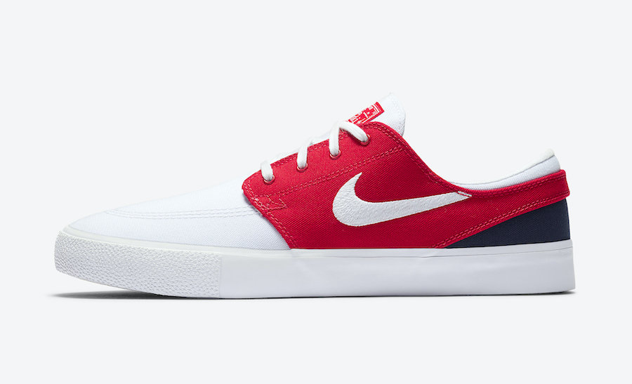Nike SB Stefan Janoski White University Red Midnight Navy AR7718-105 Release Date Info