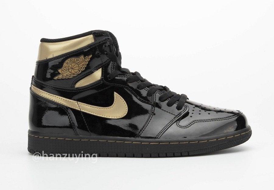 Air Jordan 1 Black Metallic Gold Patent Leather 555088-032 Release Details