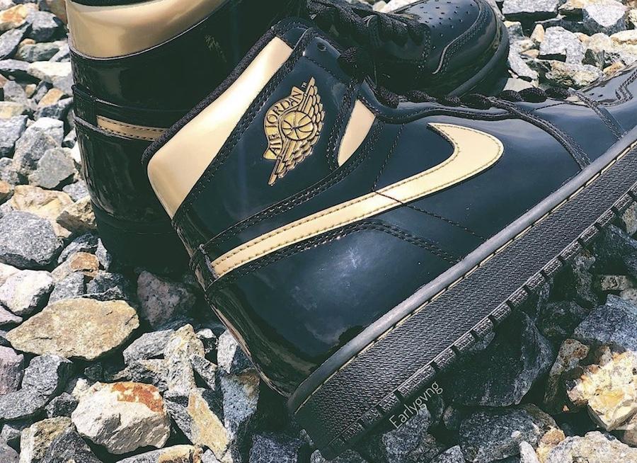 Air Jordan 1 High Patent Black Metallic Gold 555088-032 Release Details