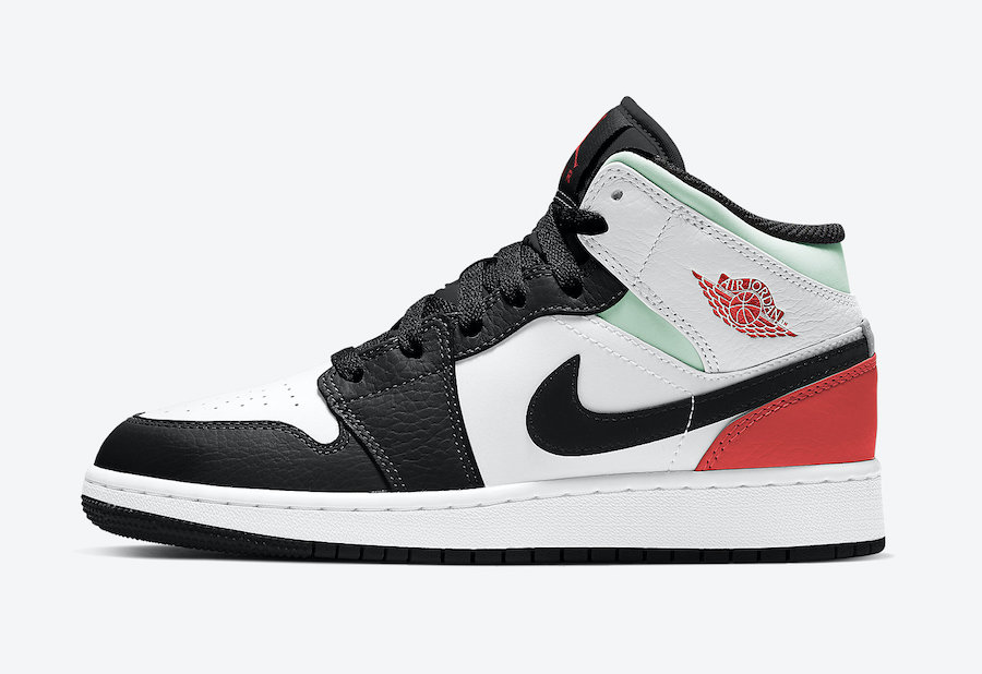 Air Jordan 1 Mid GS Black Toe Green Orange BQ6931-100 Release Date Info