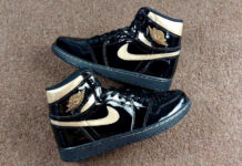 Air Jordan 1 Patent Black Gold 555088-032