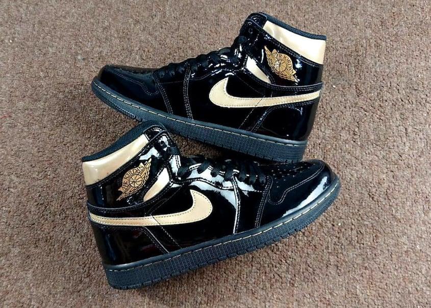 Air Jordan 1 Patent Black Gold 555088-032