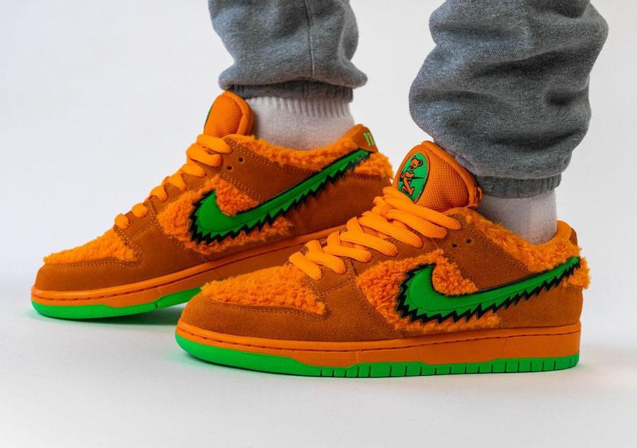 Grateful Dead Nike SB Dunk Low Orange Bear CJ5378-800 On Feet