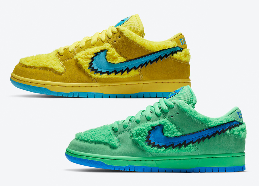 Grateful Dead Nike SB Dunk low Yellow Green Bear