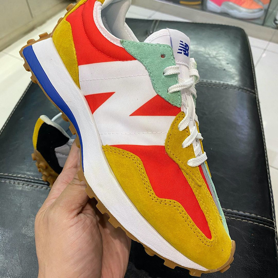 New Balance 327 Split Red Orange Yellow Green Release Date Info