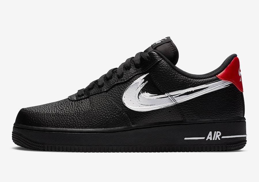 Nike Air Force 1 Low Brushstroke Swoosh Black DA4657-001 Release Date Info