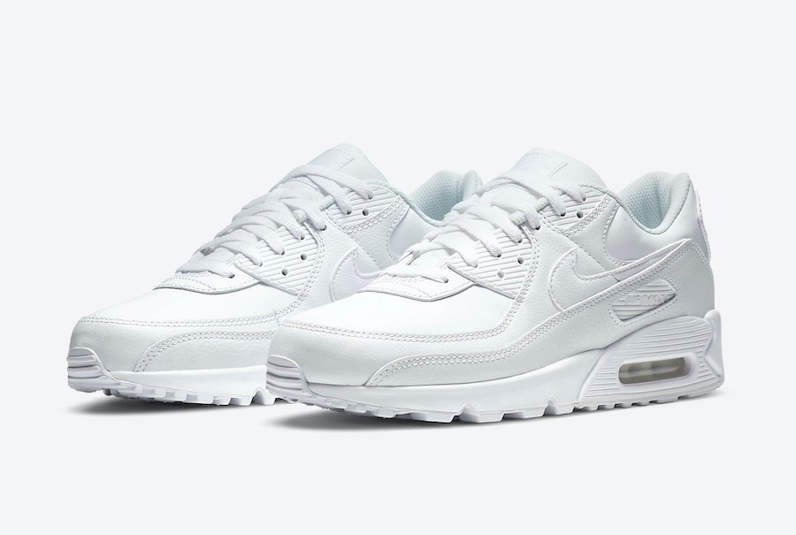 Nike Air Max 90 Leather Triple White CZ5594-100 Release Date Info
