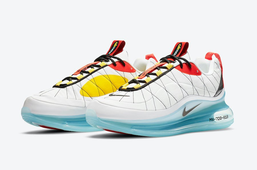 Nike MX 720-818 White Red Yellow Black CV4199-100 Release Date Info