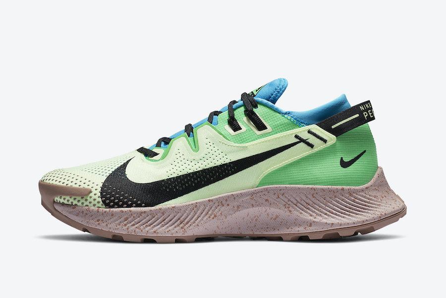 Nike Pegasus Trail 2 Barely Volt Laser Blue Poison Green Black CK4305-700 Release Date Info
