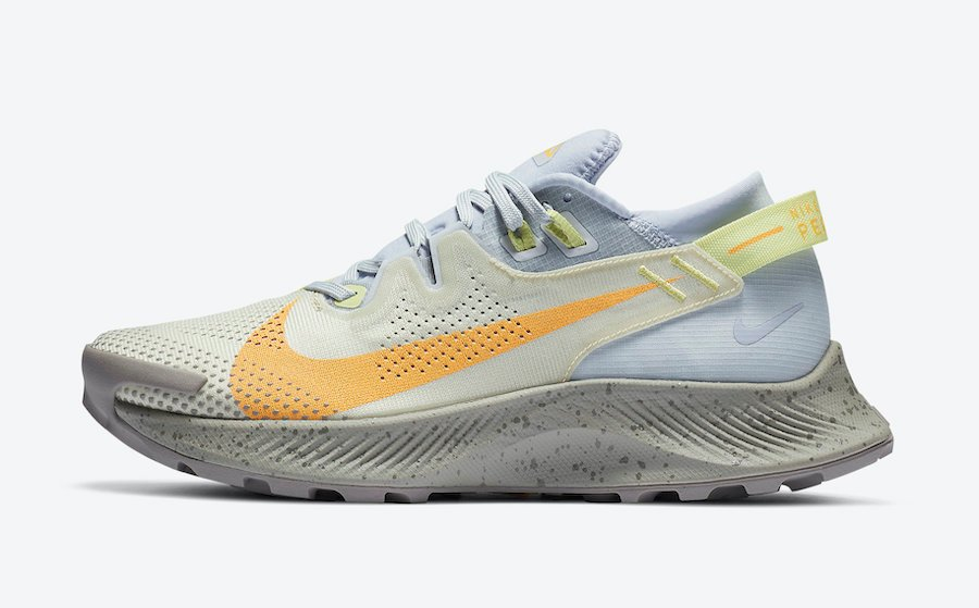 Nike Pegasus Trail 2 Pure Platinum Fossil Limelight Laser Orange CK4309-001 Release Date Info