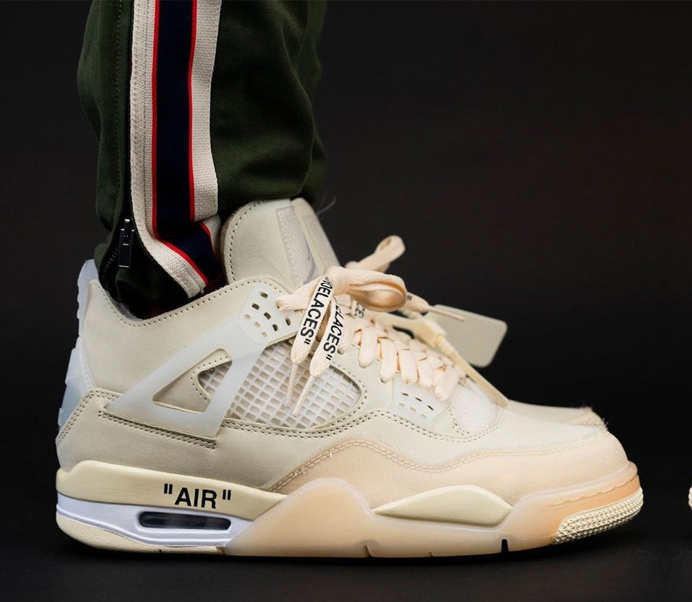 Off-White x Air Jordan 4 CV9388-100 Sail On Feet