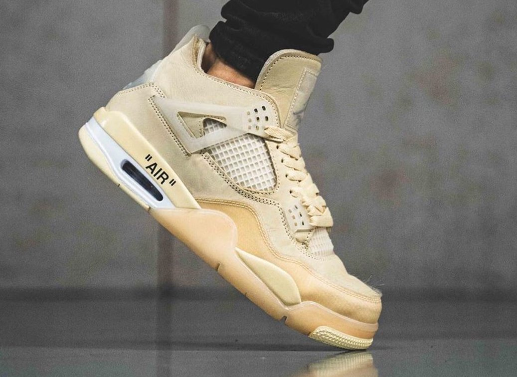 Off-White Air Jordan 4 Sail CV9388-100 On Feet