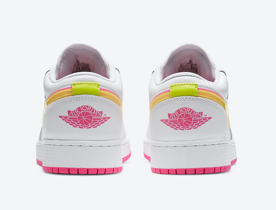Air Jordan 1 Low GS White Pink Yellow Volt CV4610-100 Release Date Info
