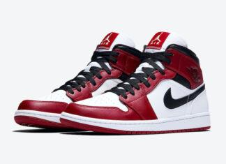 Air Jordan 1 Mid Chicago White Heel 554724-173 Release Date Info