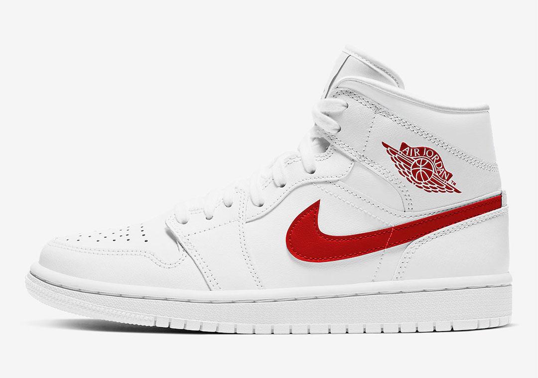 Air Jordan 1 Mid White Red BQ6472-106