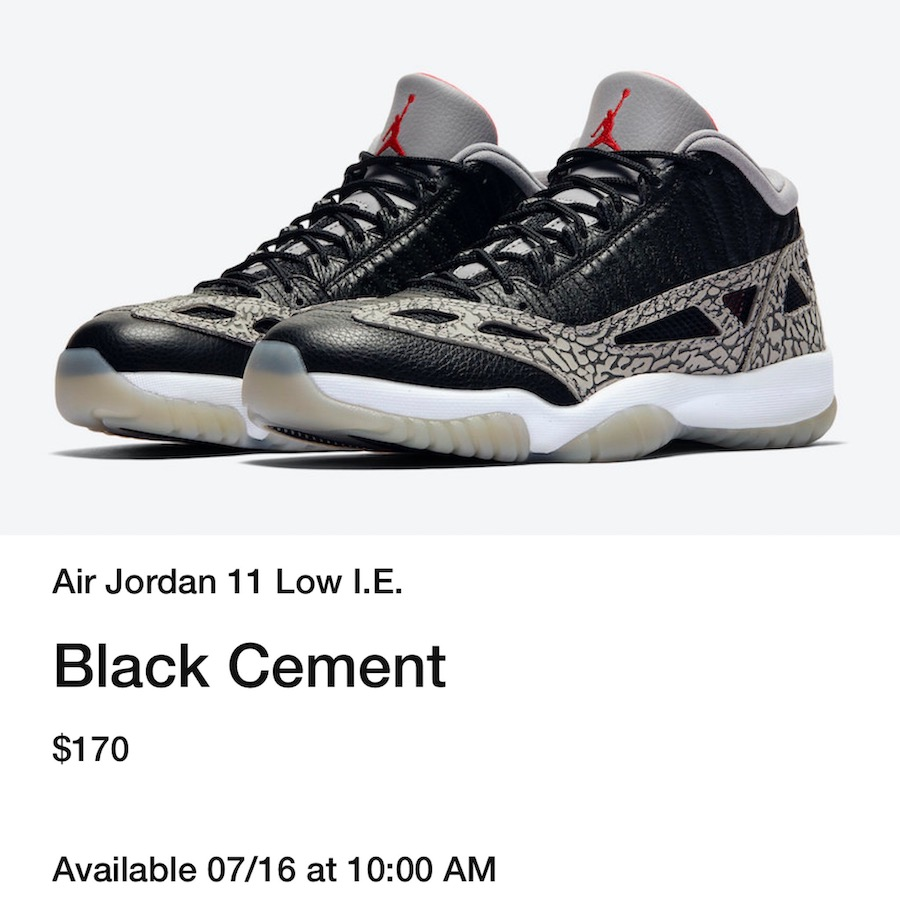 Air Jordan 11 Low IE Black Cement 919712-006
