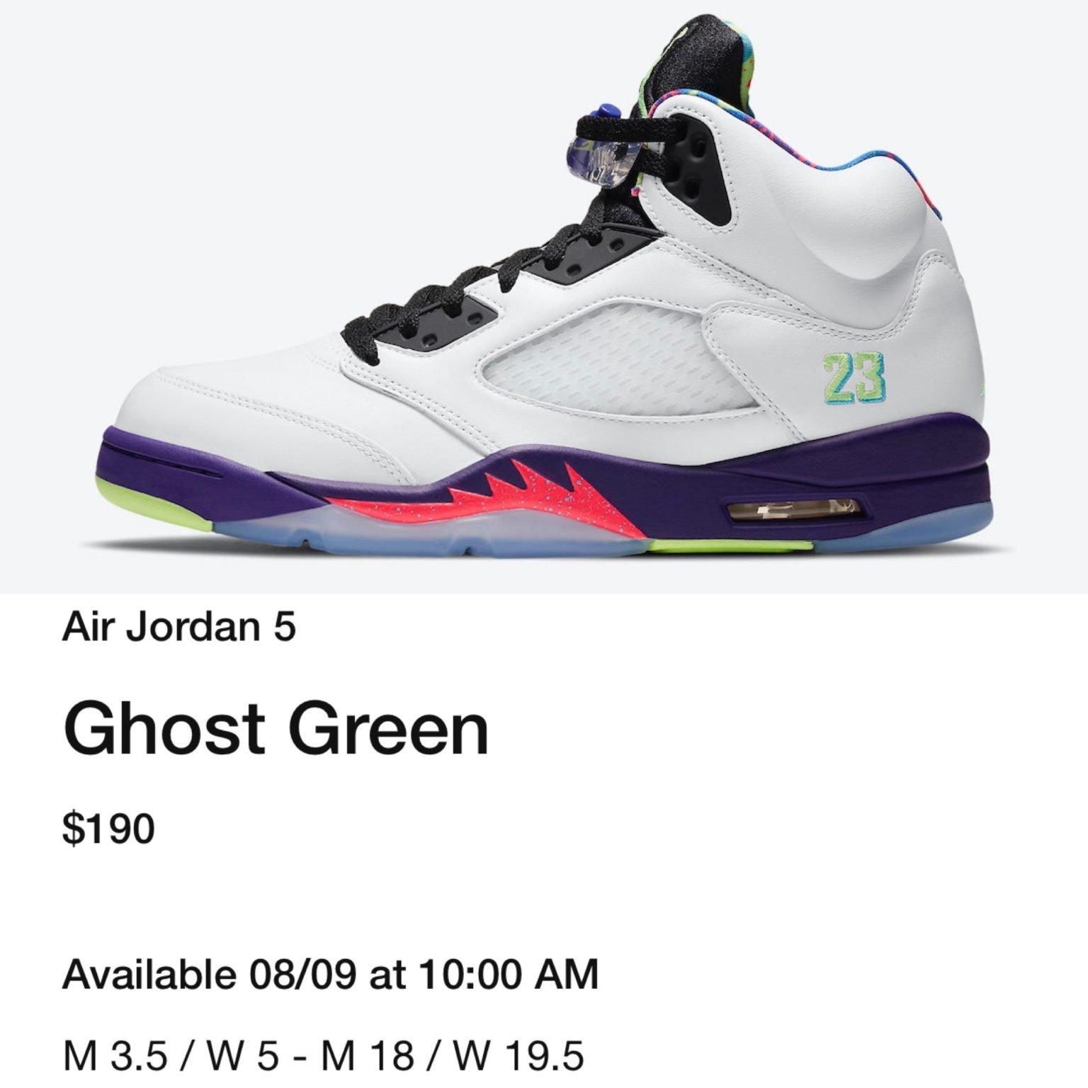 Air Jordan 5 Alternate Bel-Air Ghost Green DB3335-100 Release Date