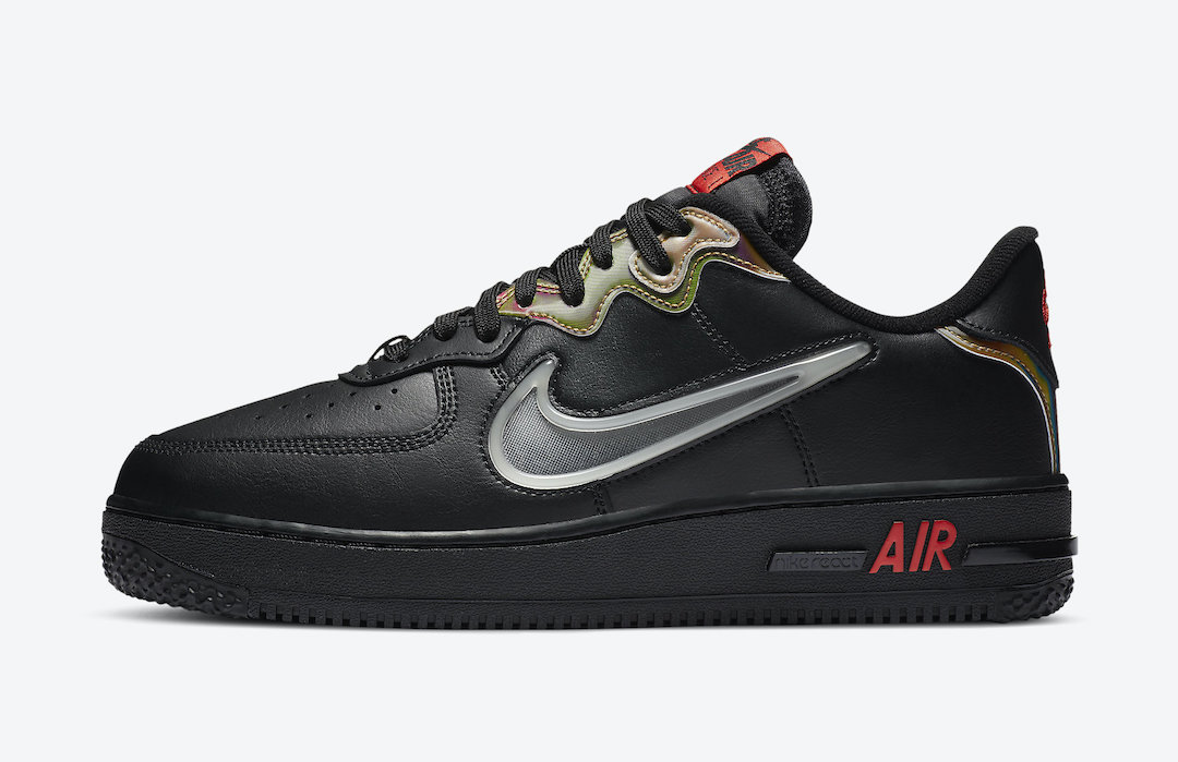Nike Air Force 1 React Black Habanero Red CN9838-001 Release Date Info