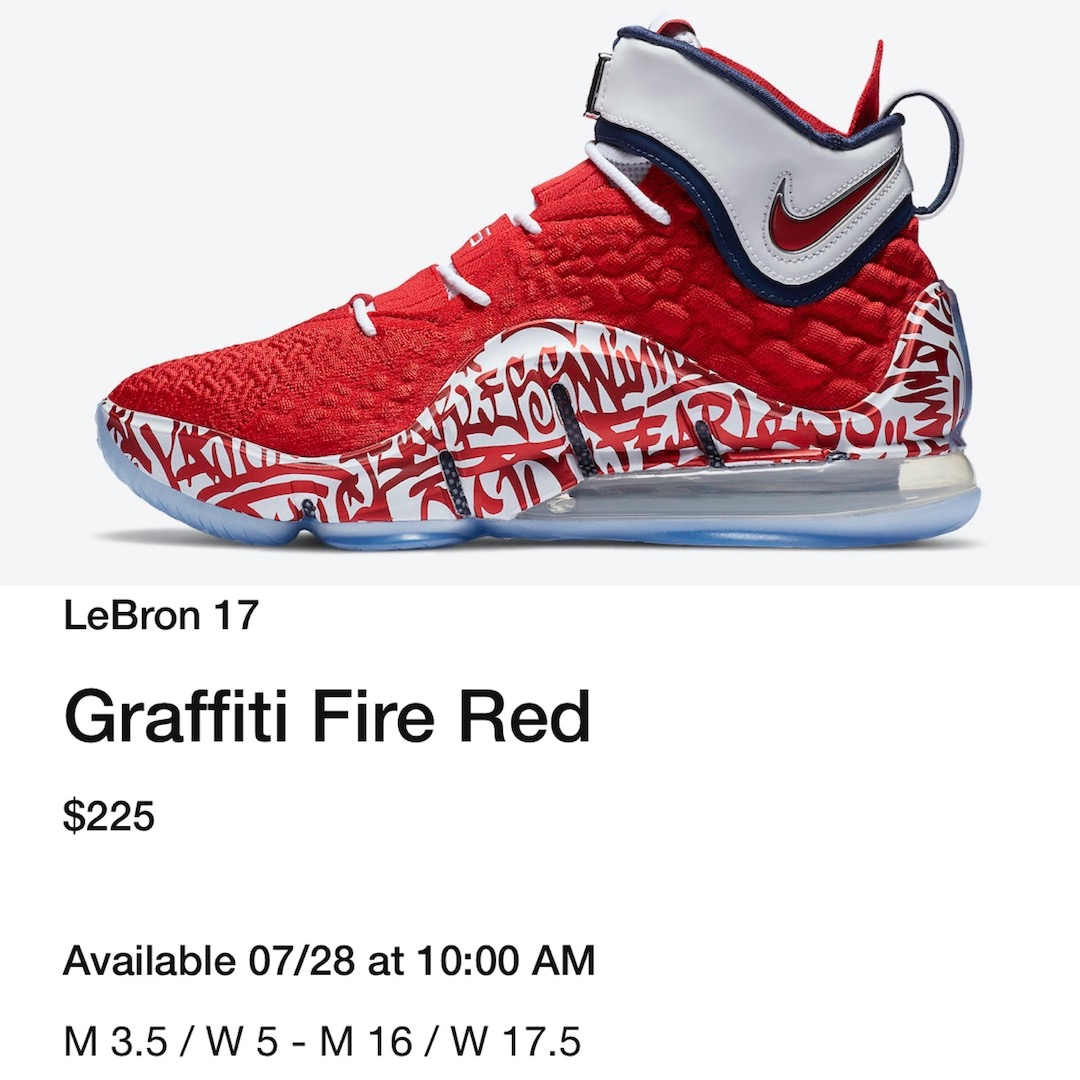 Nike LeBron 17 Graffiti Fire Red CT6047-600 Release Date