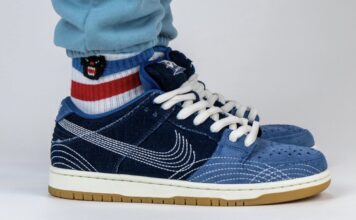 Nike SB Dunk Low Sashiko Denim Gum CV0316-400 On Feet