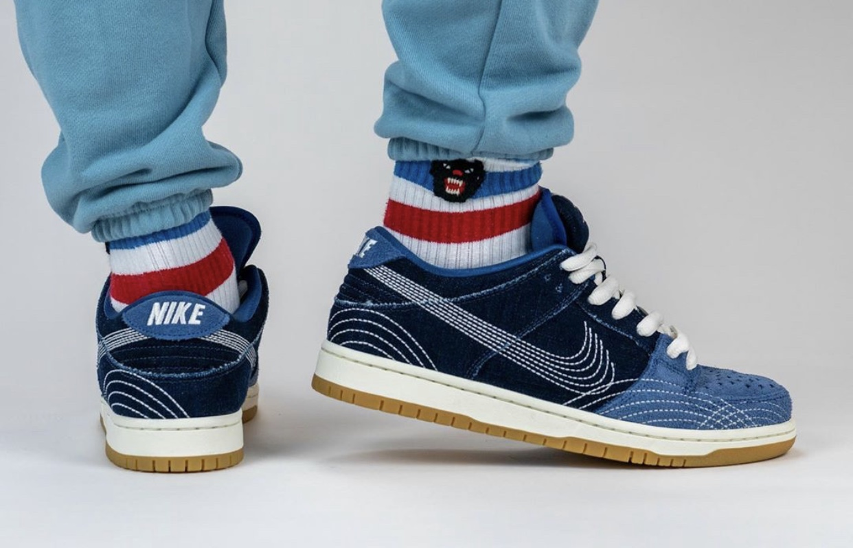 Nike SB Dunk Low Sashiko Denim Gum CV0316-400 On Feet
