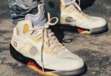 Off-White Air Jordan 5 Sail Fire Red On Feet