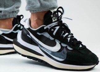 sacai Nike VaporWaffle Black White CV1363-001 2020 On Feet