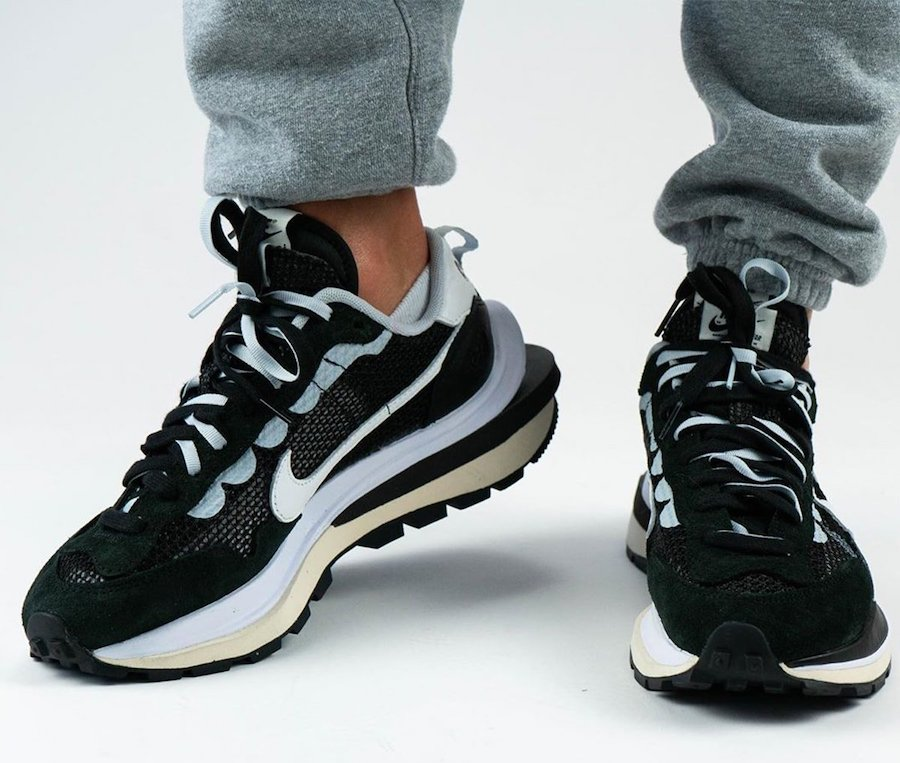 sacai Nike VaporWaffle Black White CV1363-001 On Feet