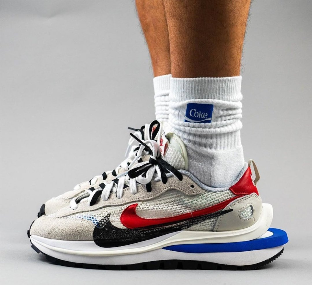 sacai Nike VaporWaffle Sail Light Bone Game Royal CV1363-100 On Feet