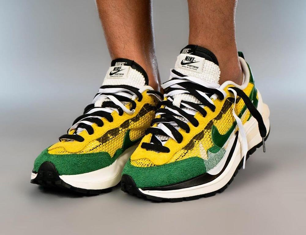 sacai Nike VaporWaffle Tour Yellow Stadium Green CV1363-700 On Feet