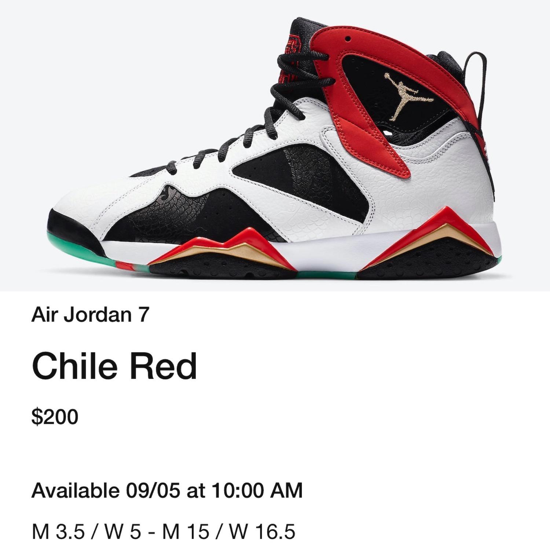 Air Jordan 7 China Chile Red CW2805-160