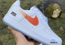 Kith Nike Air Force 1 NYC White Rush Blue White Brilliant Orange CZ7928-100