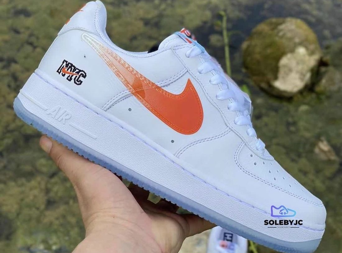 Kith Nike Air Force 1 NYC White Rush Blue White Brilliant Orange CZ7928-100