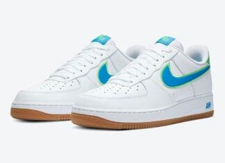 Nike Air Force 1 Low White Blue Lime Gum DA4660-100 Release Date Info