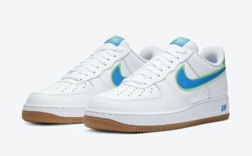 Nike Air Force 1 Low White Blue Lime Gum DA4660-100 Release Date Info