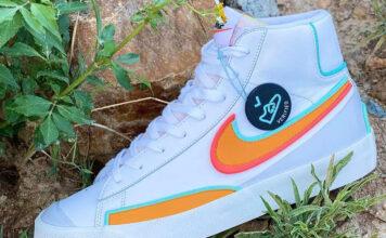 Nike Blazer Mid 77 D/MS/X White Kumquat Aurora Green Bright Crimson Release Date Info