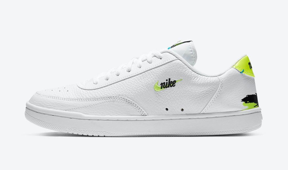 Nike Court Vintage Premium White Neo Turquoise Volt Brush Strokes CZ7936-100 Release Date Info