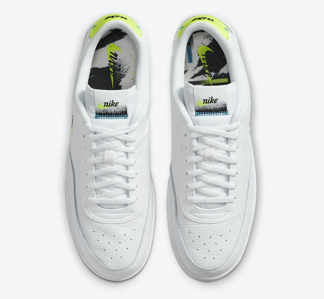 Nike Court Vintage Premium White Neo Turquoise Volt Brush Strokes CZ7936-100 Release Date Info